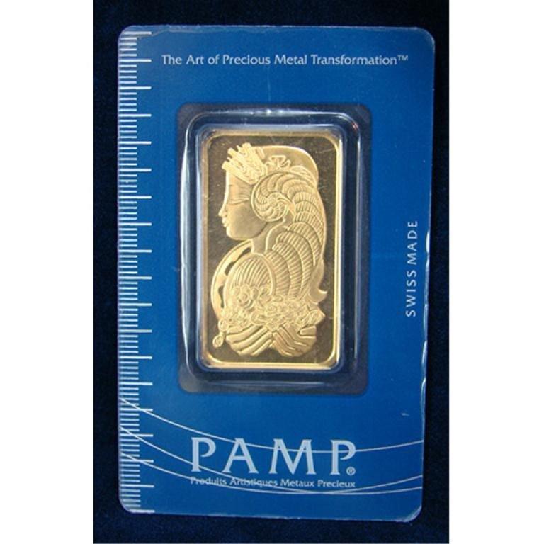 185S: 1 oz. Pamp Suisse Gold Ingot 999.9 Pure