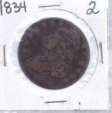 2: 1834 Bust Half Dollar XF Grade