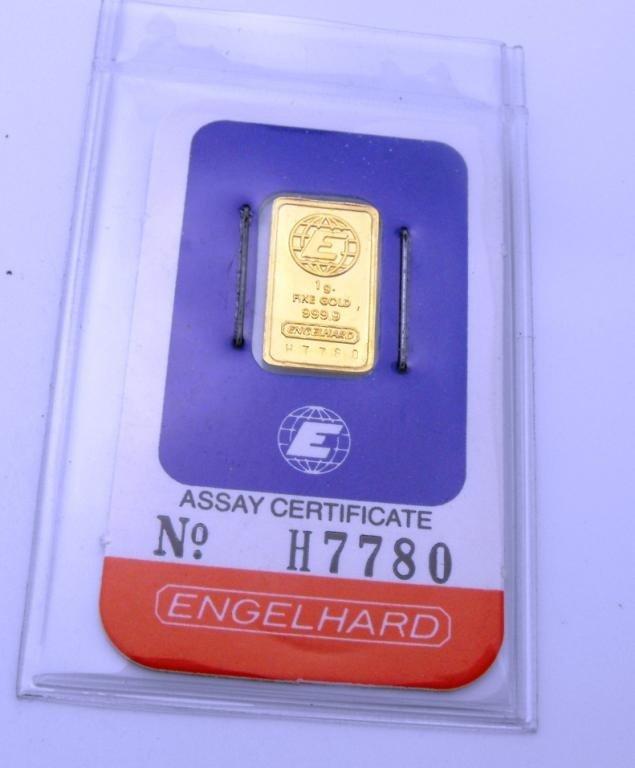 1B: 1 Gram Engelhard Gold Bullion Ingot Assayed
