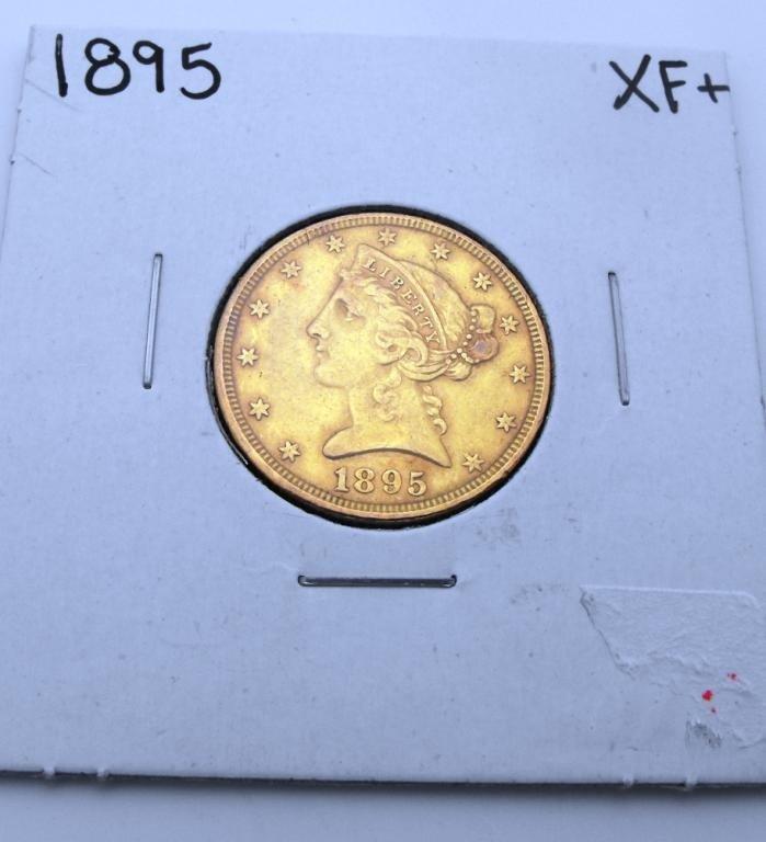 1X: 1895 P $ 5 Gold Liberty XF Grade Coin