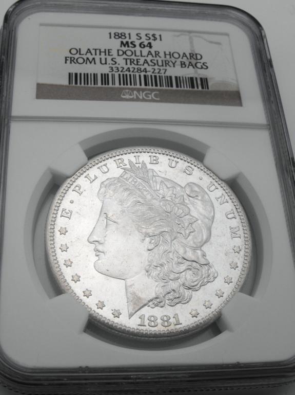 2V: 1881 S MS 64 Olathe Hoard NGC Morgan