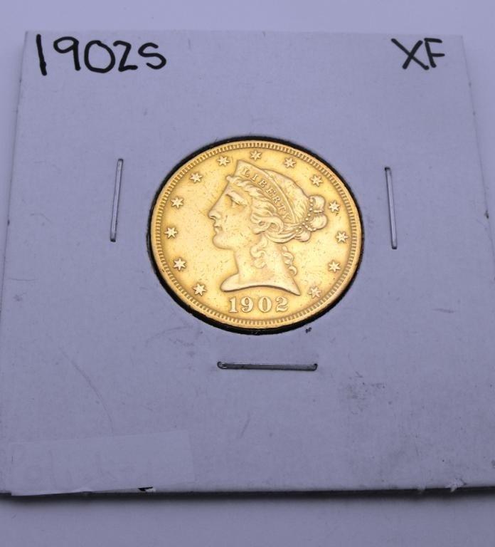 2X: 1902 San Francisco $ 5 Gold Liberty XF