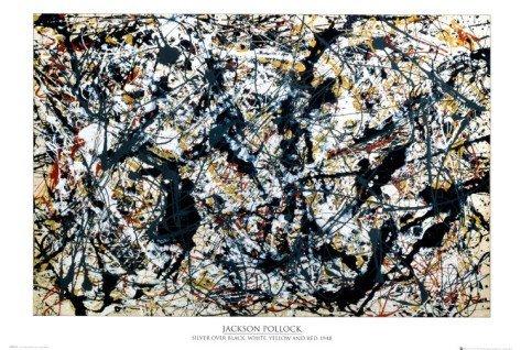2P: Silver On Black  by Jackson Pollock Art print