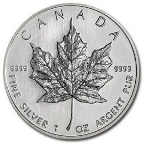 2C: (10) Silver 1 oz Maple Leaf Bullion