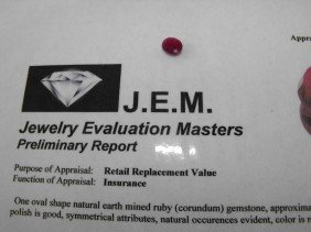 4Q: 1.5 ct. Earth Mined Ruby- $ 900 GG GIA