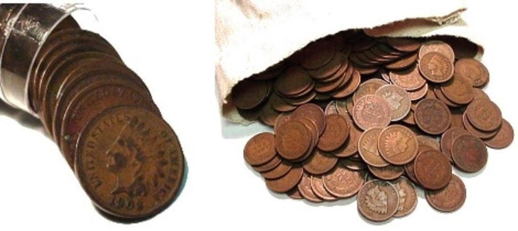 3C: Lot of 100 Indian Head Cents From Cache