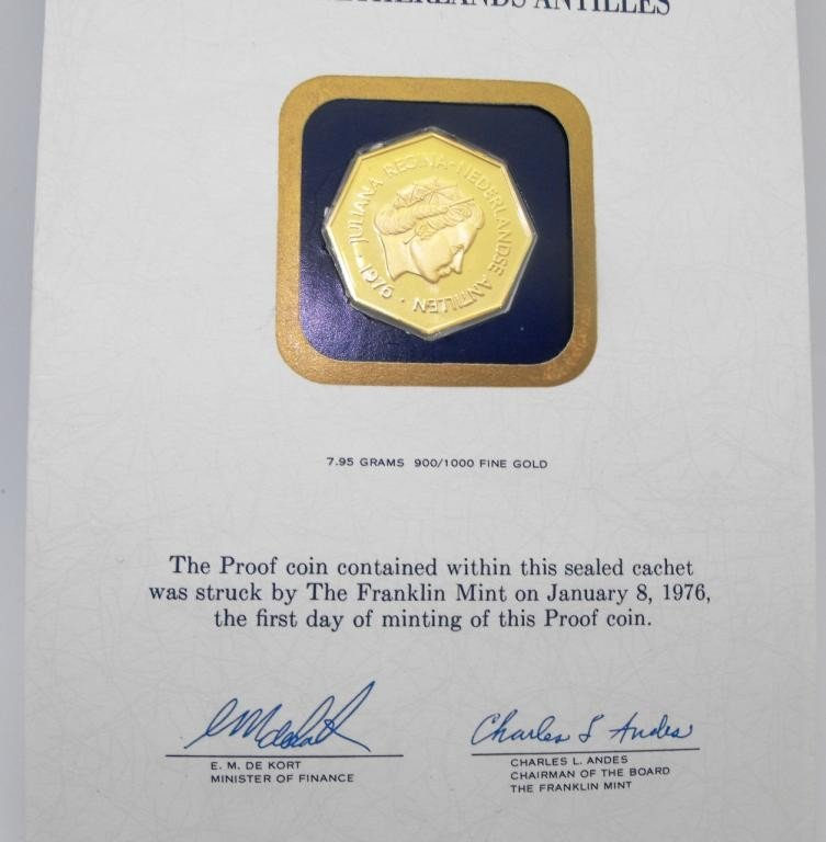 3T: 1976 Proof 200 Guilder Gold Coin 7.95 g