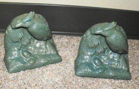 1B: Green Rookwood Bird Figural Bookends -
