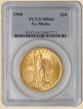 2A: 1908 $20 St. Gaudens MS64 PCGS No Motto