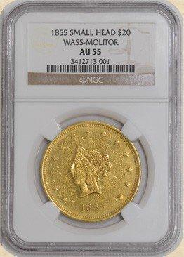10A: 1855 Wass-Molitor $20 AU55 NGC Small Head- RARE!!!