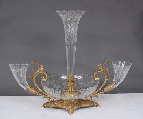1F: Large Hand Cut Crystal and Bronze Centerpiece