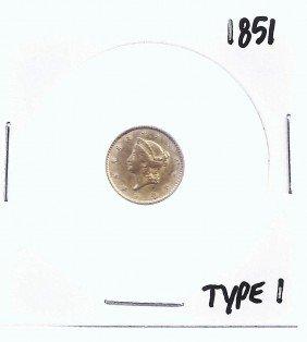 1: 1851 Type I US $1 Dollar Liberty Gold Coin