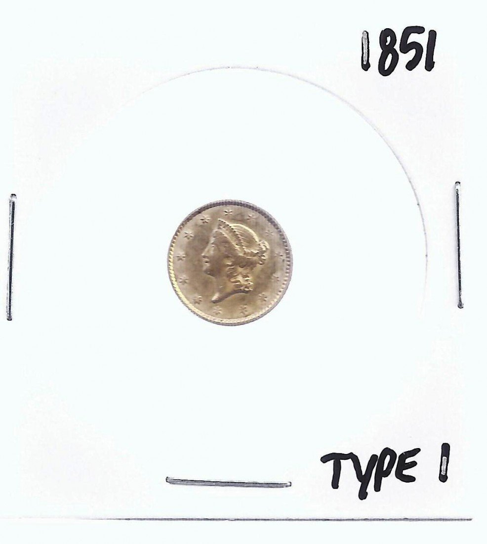 1: 1851 Type I US $1 Dollar Liberty Gold Coin
