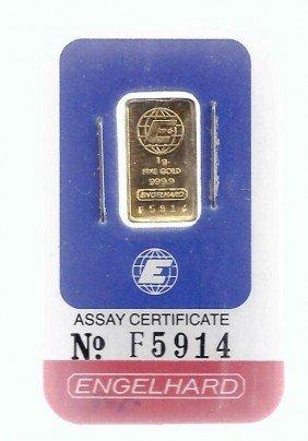 2: 1 Gram Engelhard Gold Ingot Bar