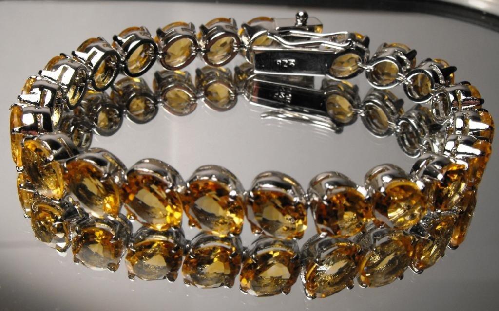 71W: 35 tcw Fine Citrine Bracelet Silver $ 3780 GG GIA