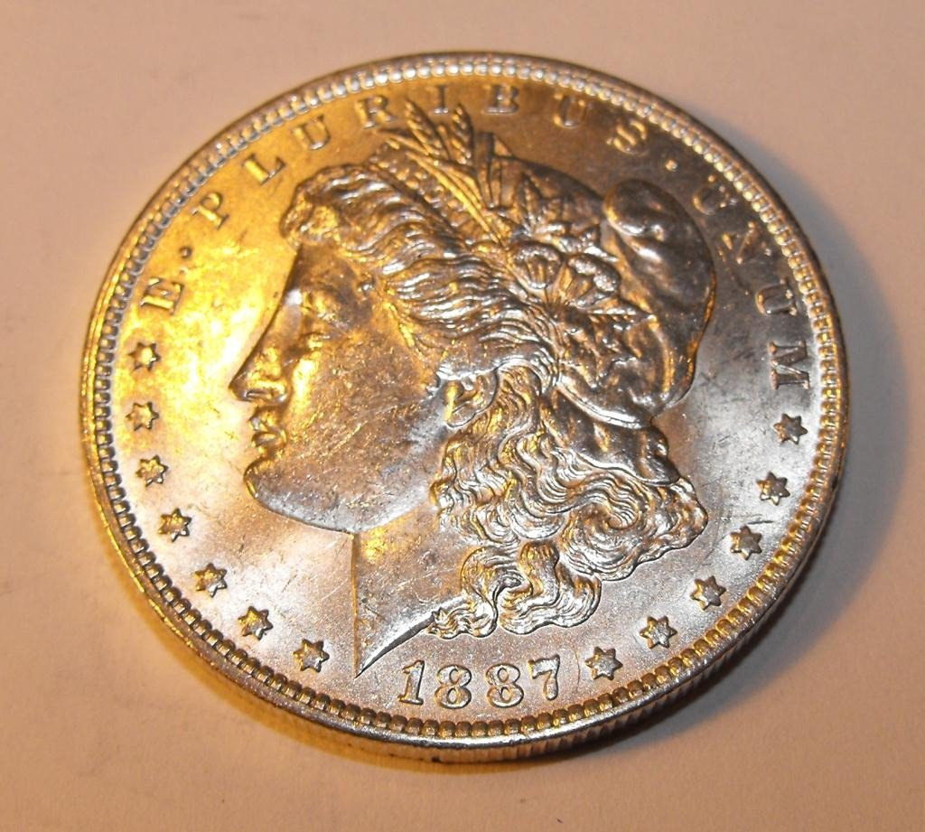 45T: 1887 P BU Morgan Silver Dollar