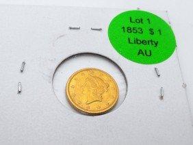 1: 1853 $ 1 Liberty Gold AU Grade