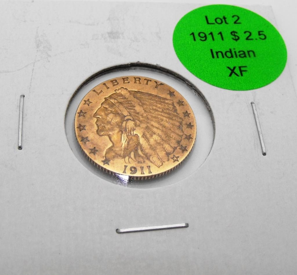 2: 1911 $ 2.5 Gold Indian XF Grade
