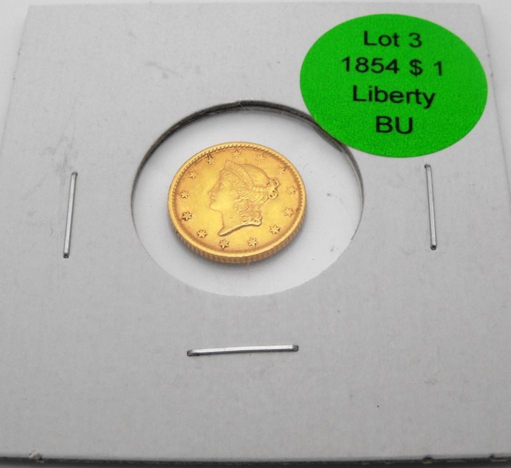 3: 1854 $ 1 Liberty Gold NEAR BU Grade