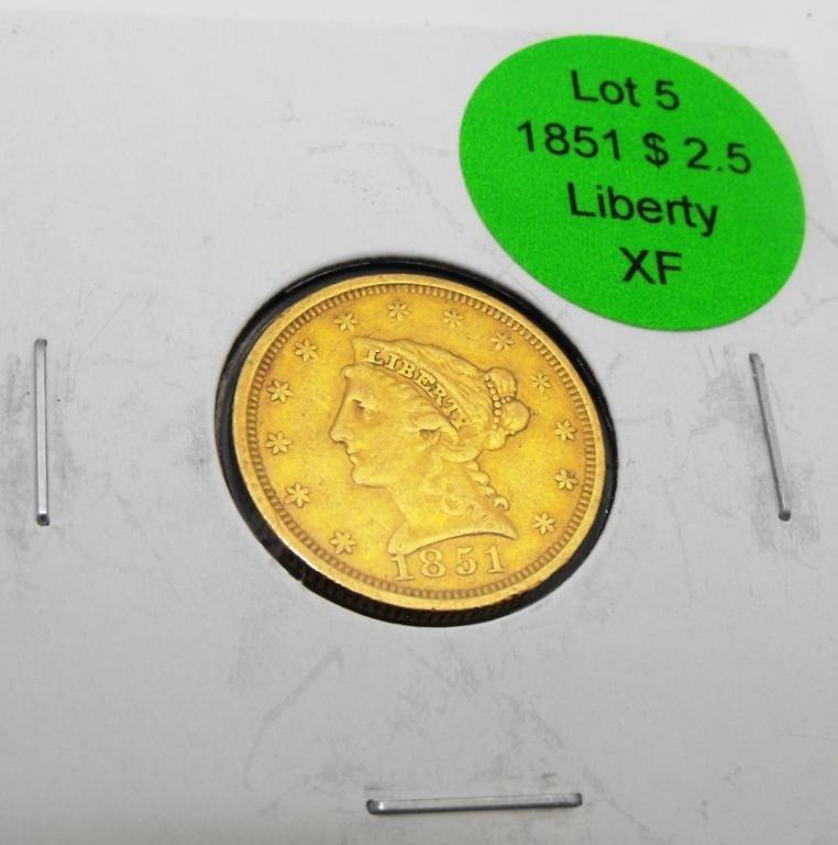 5: 1851 $ 2.5 Liberty Gold XF Grade