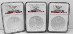4Z: (3) 2006 MS 69 NGC First STrike SIlver Eagles