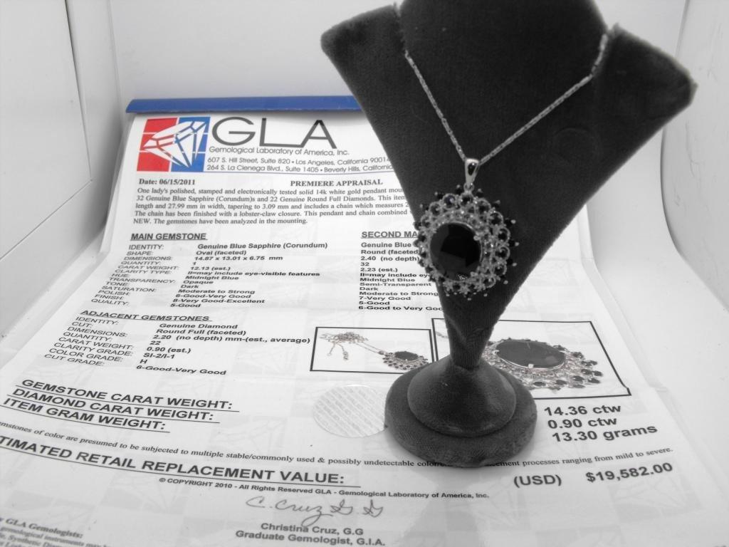 3M: 14.36 ct. Sapph. & Diamond Pendant $ 19K