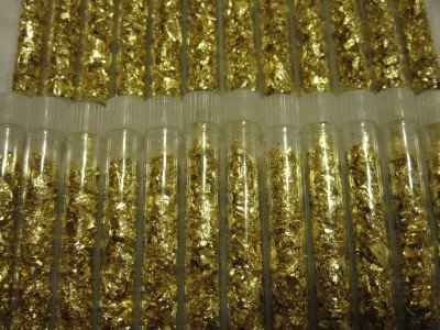 4S: Lot of (20) Gold Leaf Vials- Non Bullion- Flakes