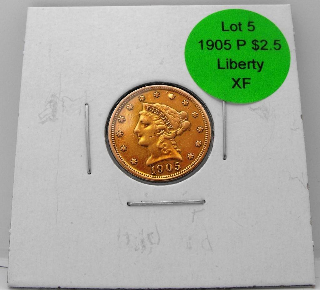 5: 1905 P $ 2.5 Gold Liberty - XF Grade