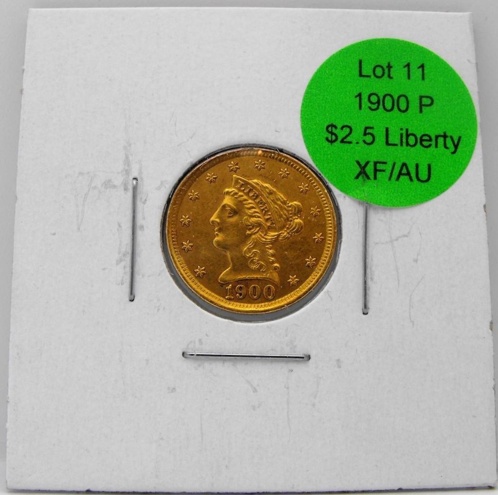 11: 1900 P $ 2.5 Gold Liberty - XF/AU