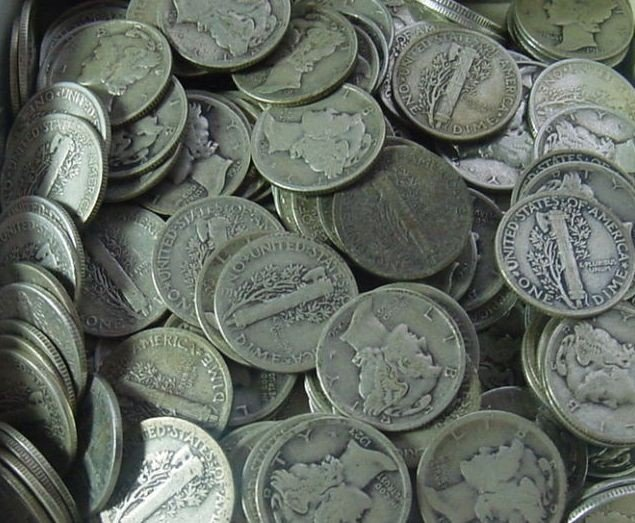 4R: Lot of (500) Mercury Dimes - 90% Silver