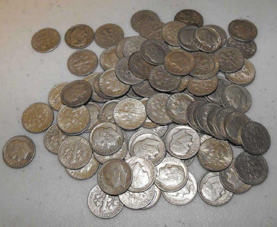 5N: Lot of 100 90% Silver Roosevelt Dimes