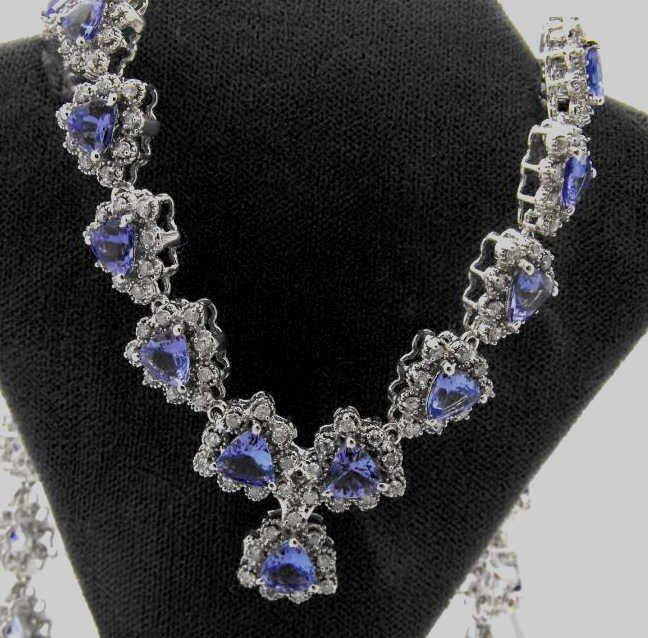 8M: 17.41 tcw. Tanzanite & Diamond Necklace $ 27K Ap.