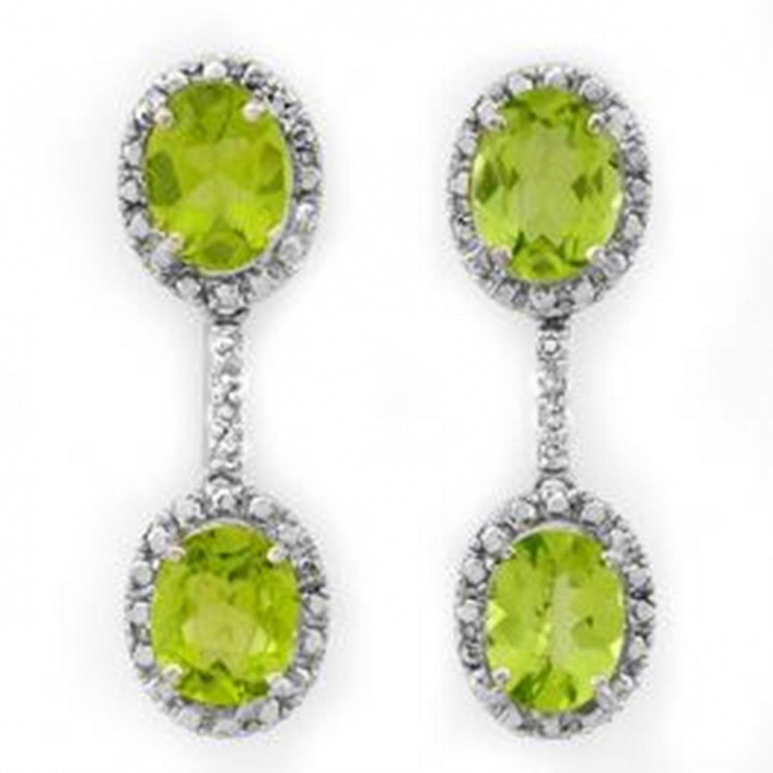 3D: 8.10 ctw Peridot & Diamond Earrings