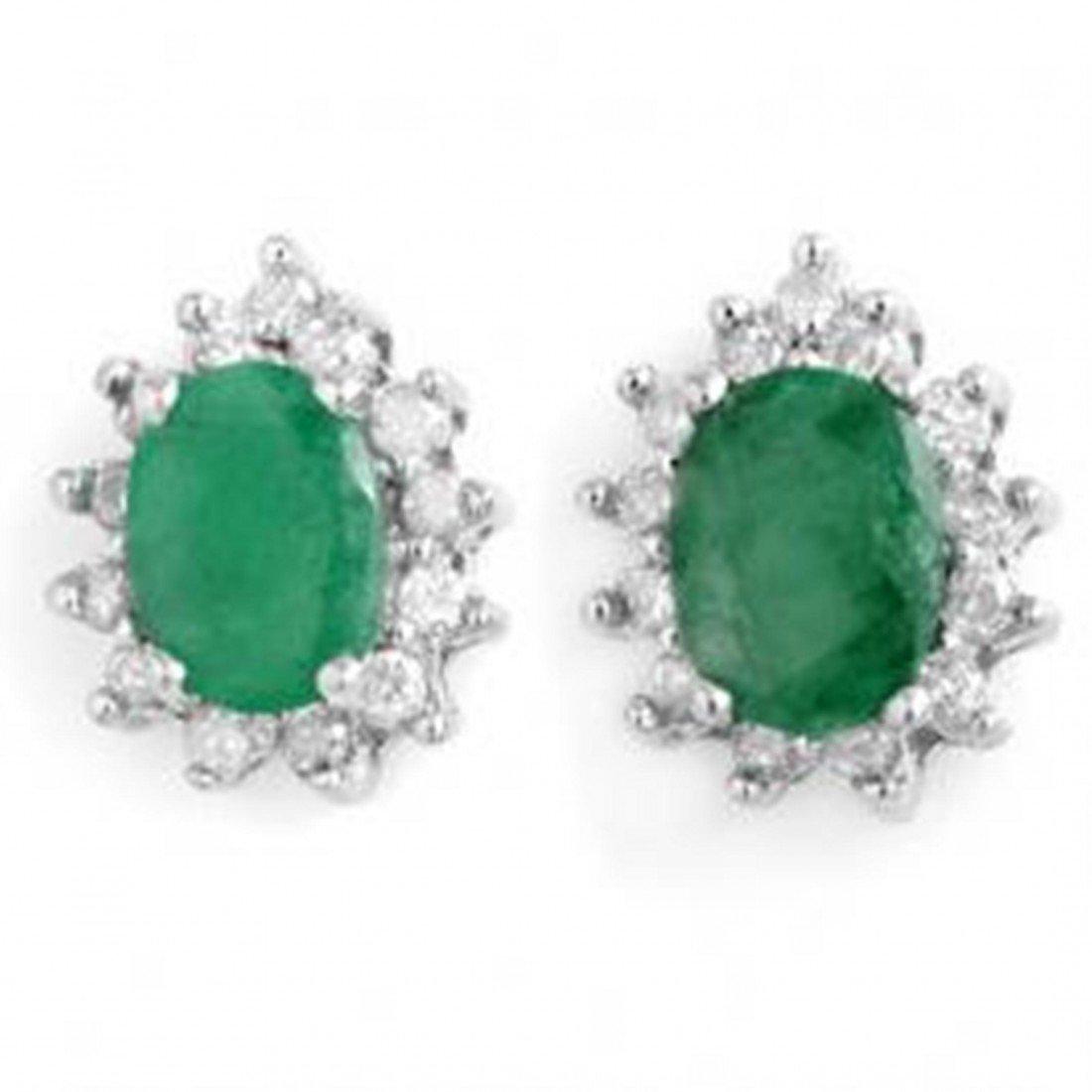 4D: 3.85 ctw Emerald & Diamond Earrings
