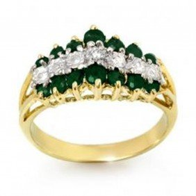 1.0 Ctw Emerald & Diamond Ring