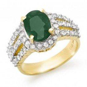 4.0 Ctw Emerald & Diamond Ring 14K