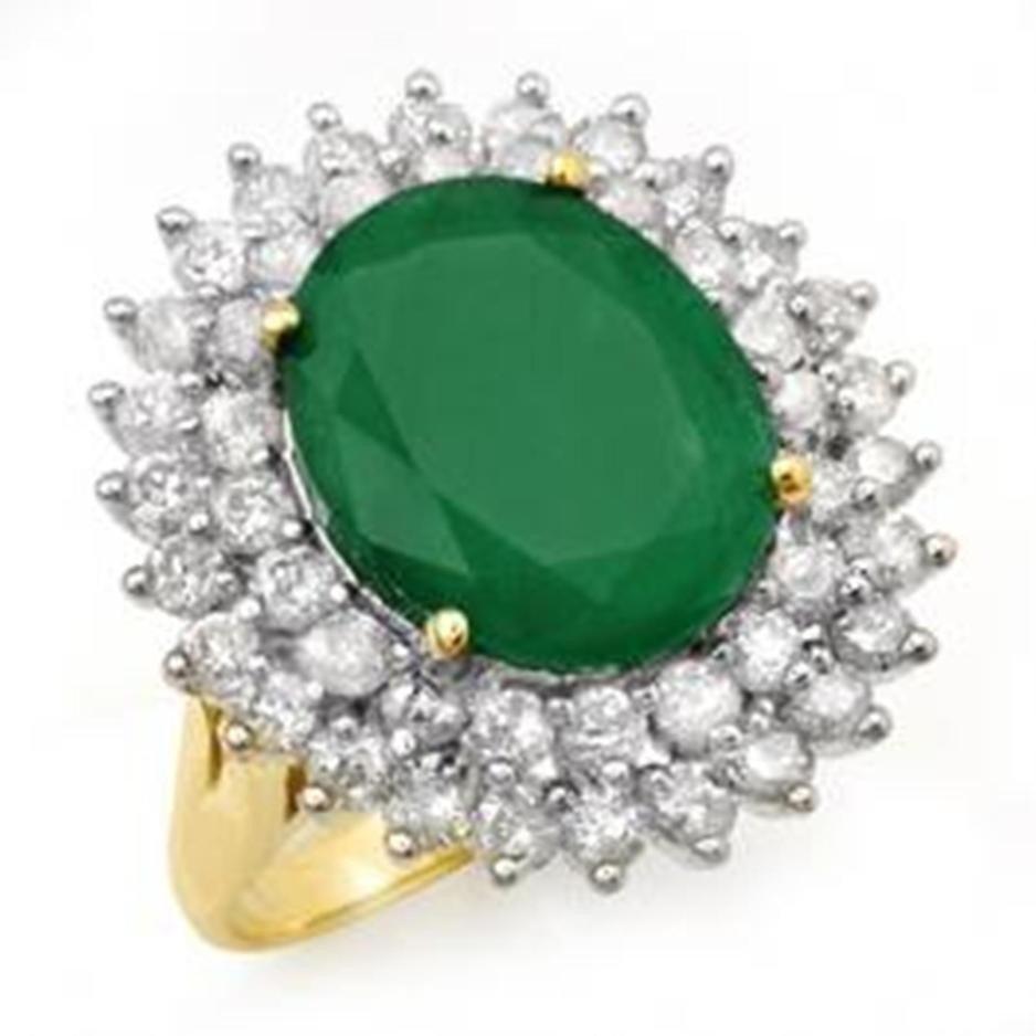 24D: 10.83ctw Emerald & Diamond Ring 14K