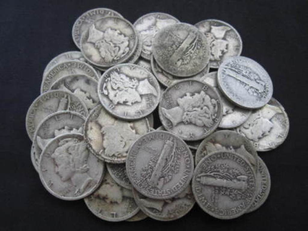 3S: 50- Mercury Dimes from Cache