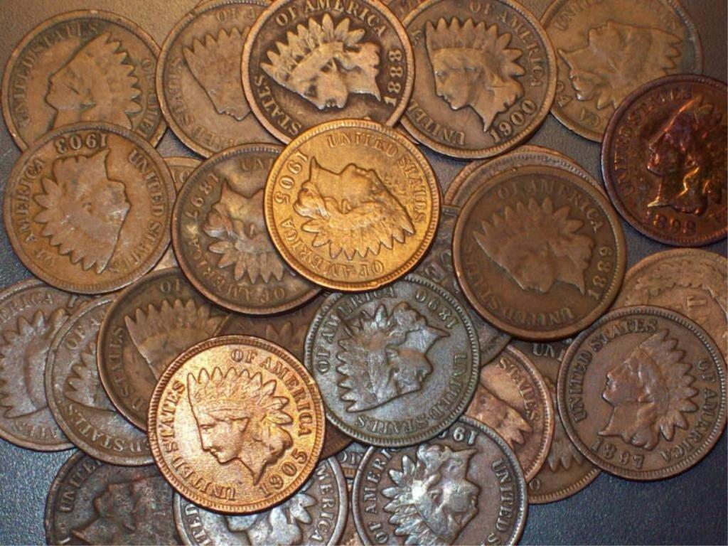 19S: 100- Indian Head Cents - ag-vg