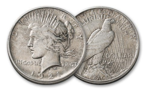 20S: 1921 Peace SIlver Dollar - 1st Year KEY Date