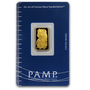 31S: 5 Gram Pamp Suisse Gold Ingot on Card