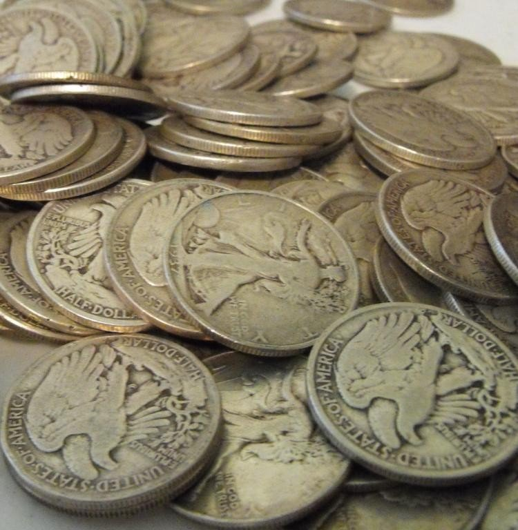 33S: (50) Walking Liberty Half Dollars