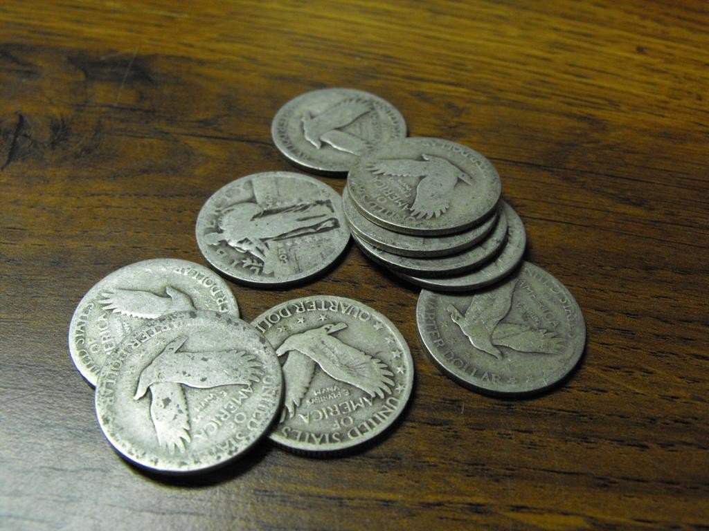 21O: Lot Of  10 Standing Liberty Quarters