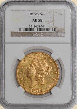 1F: 1879-S $20 Liberty AU58 NGC - Gold Double Eagle