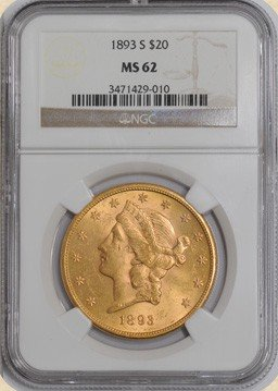 3F: 1893-S $20 Liberty MS62 NGC - Gold Double Eagle
