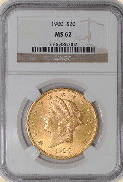 5F: 1900 $20 Liberty MS62 NGC - Gold Double Eagle