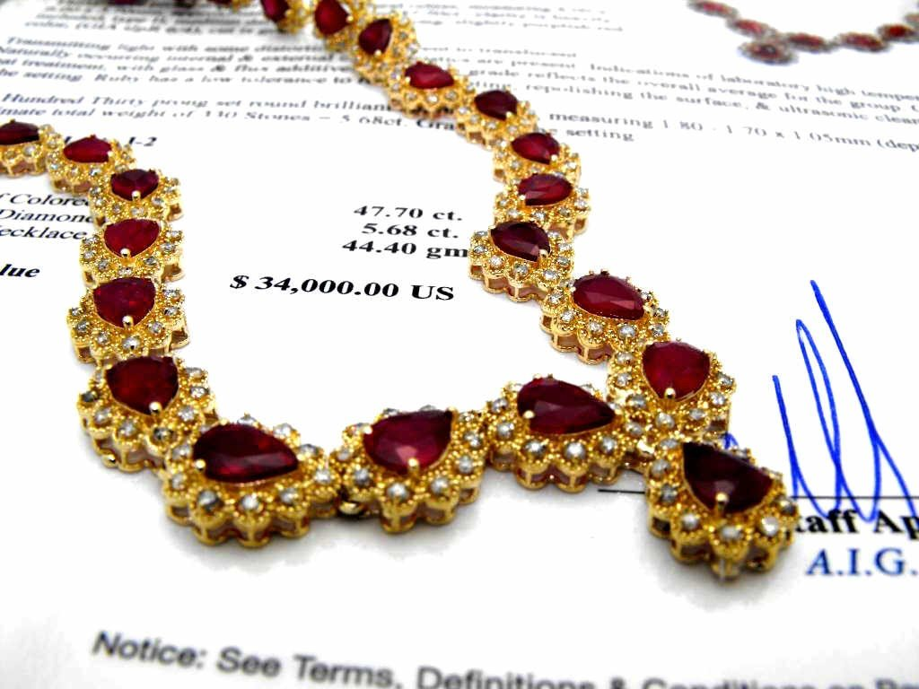 22M: $34,000 Appraised Ruby & Diamond Necklace