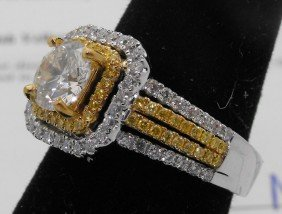 $24,350 Appraised Canary Yellow & White Dia. Ring
