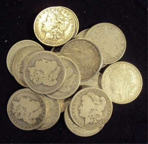 2B: Lot of 20 Assorted Date Morgan Silver Dollars - ag-