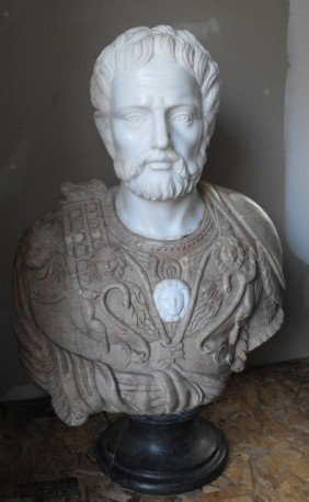 1: Large Hand Carved Solid Marble Roman Bust